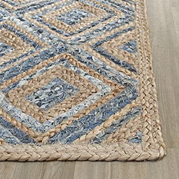 Nice Safavieh Cape Cod Collection CAP354A Hand Woven Flatweave Diamond Geometric  Natural And Blue Jute Area Rug (3u0027 X 5u0027)