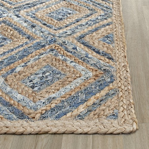Safavieh Cape Cod Collection CAP354A Hand Woven Flatweave Diamond Geometric Natural and Blue Jute Area Rug (3' x 5') ()