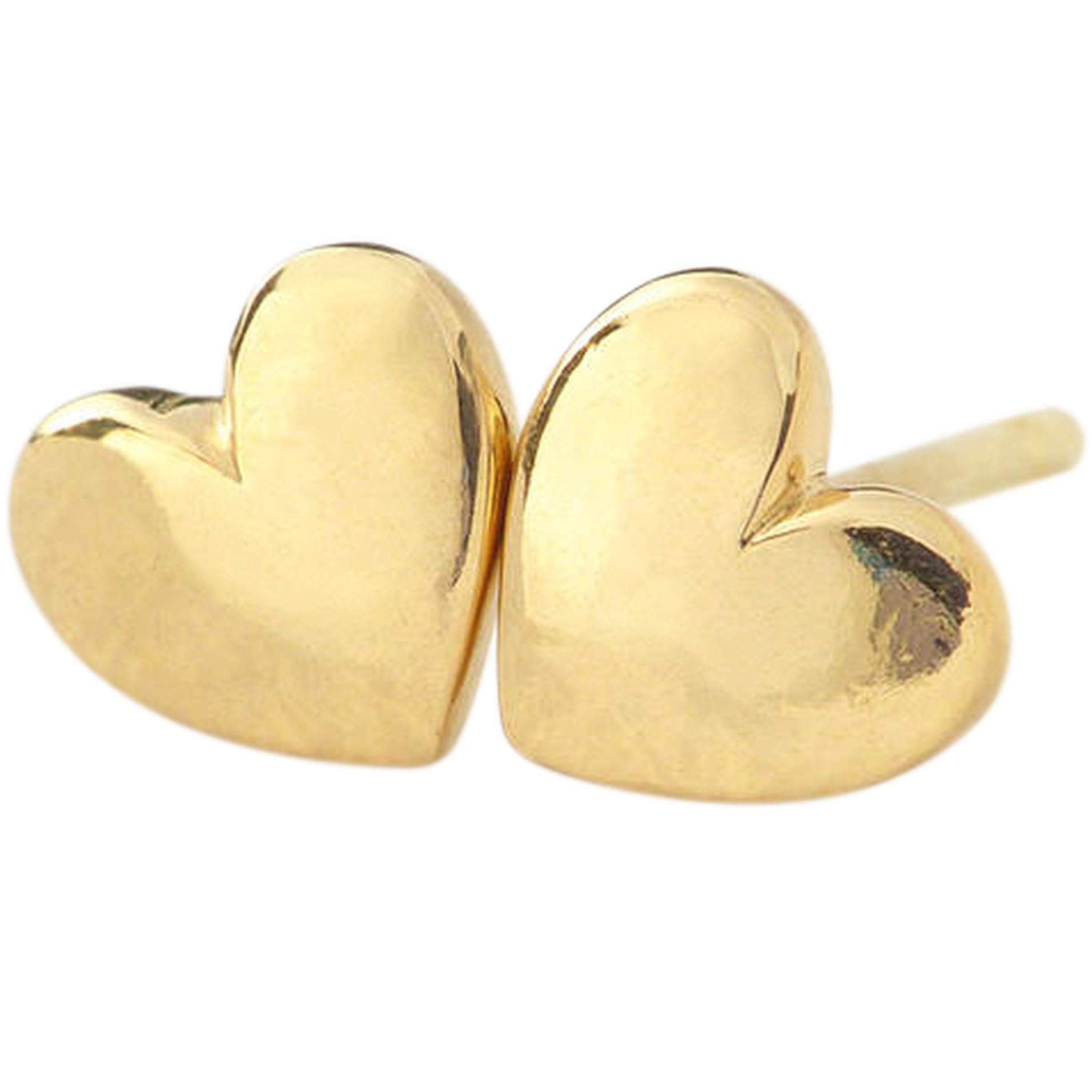 Heart Stud Earrings, 24K Gold Premium Overlay Fashion Jewelry, Hypoallergenic, Safe For Most Sensitive Ears, GUARANTEED FOR LIFE