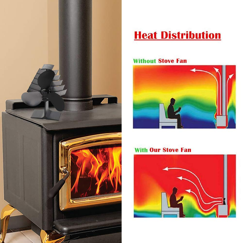 The Three Musketeers 4-Blade Heat Powered Wood Stove Fan Ultra Quiet Fireplace Wood Burning Eco-Friendly Fan Efficient Heat Distribution Black