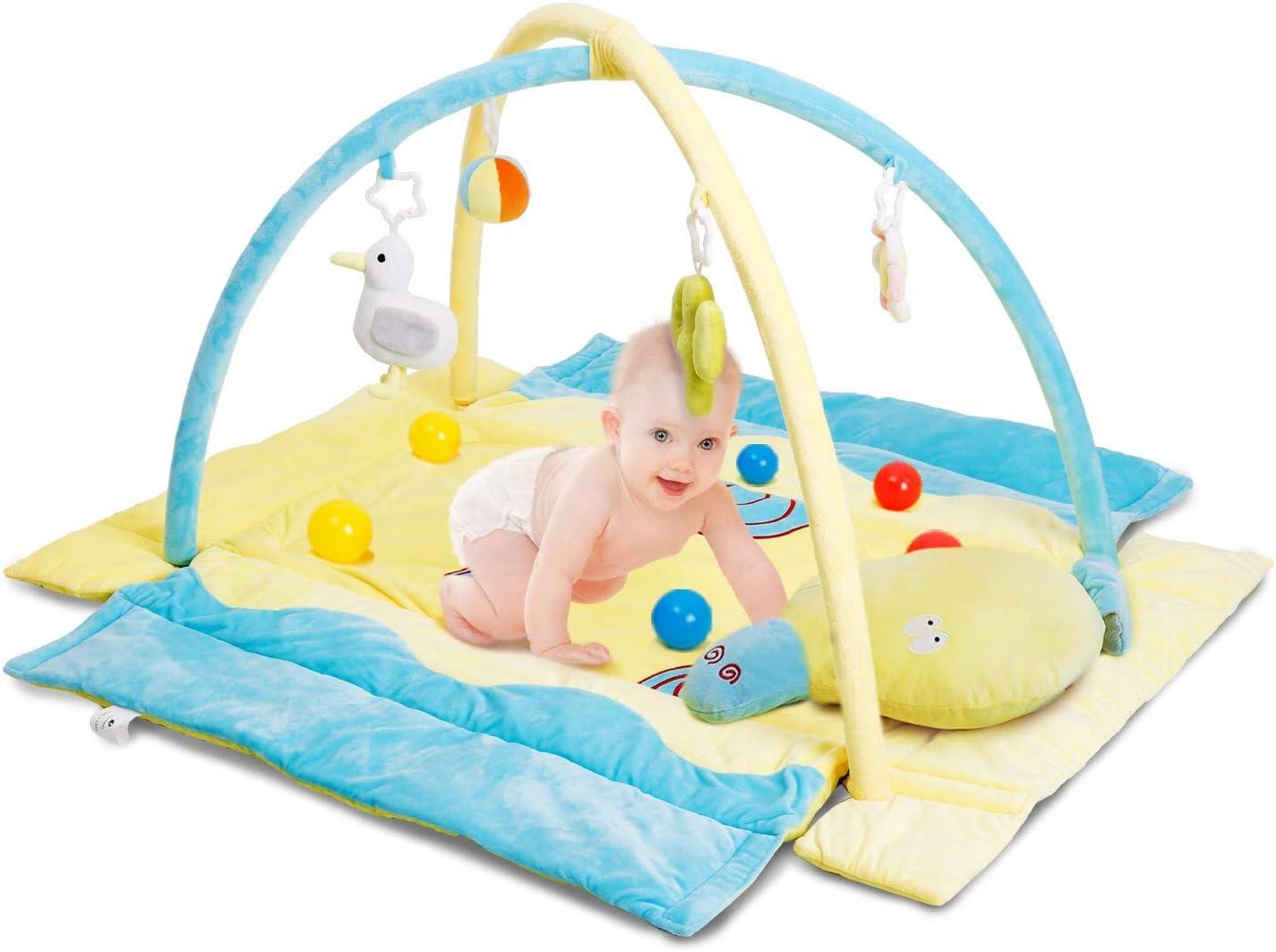 CRZDEAL Gimnasio de Actividades para Bebés, Area de Juego para Bebé, Material de Algodón Súper Suave, 110*105*68cm, con Una Almohada de Animales, Adecuado para Bebé de 0 a 36 Meses