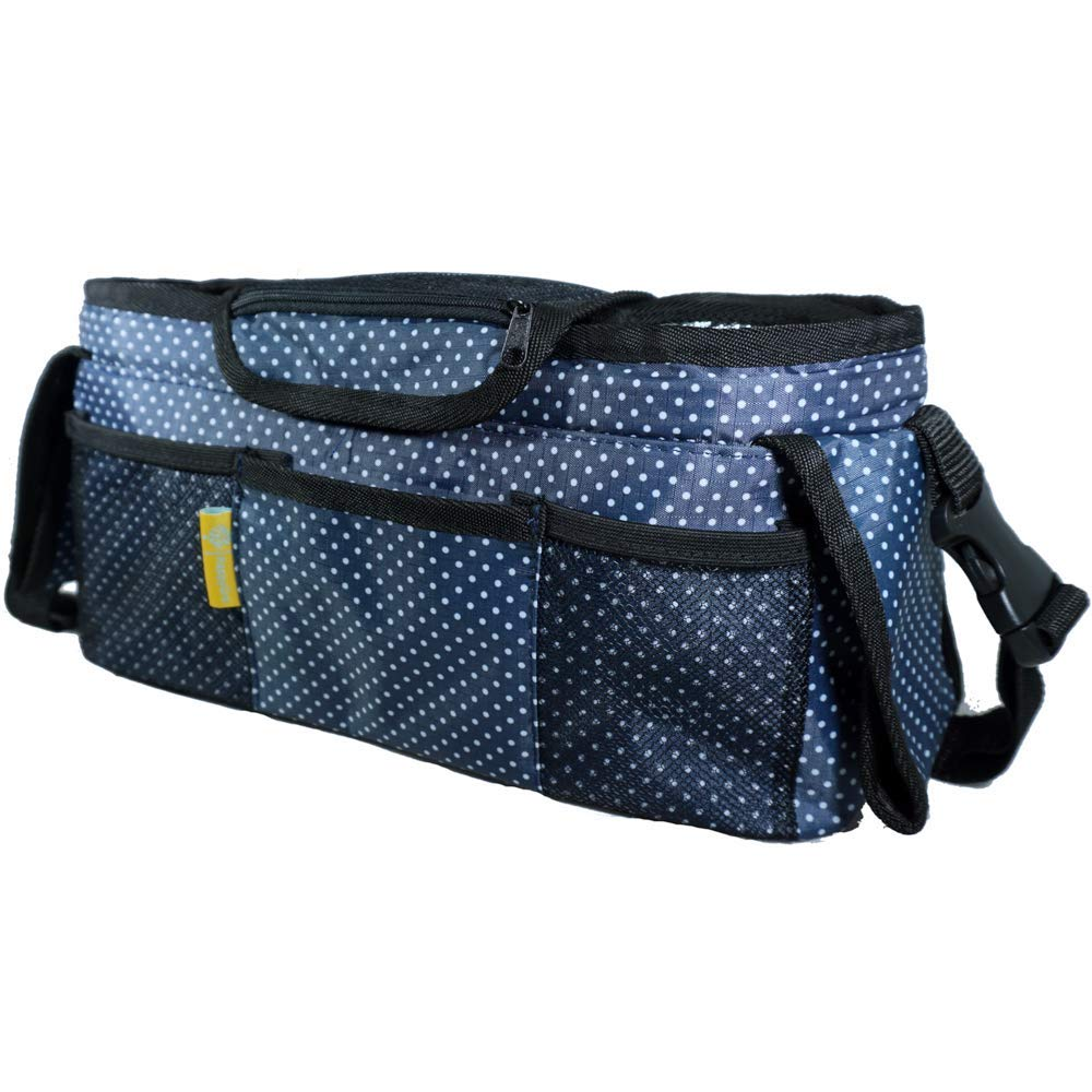 HappyGro Deluxe Cute Polka Dot Stroller Organizer Bag with Insulated Cup Holders and Removable Shoulder Strap | Lightweight, Heavy Duty Straps, Extra Storage for Phones, Keys and Baby Accessories