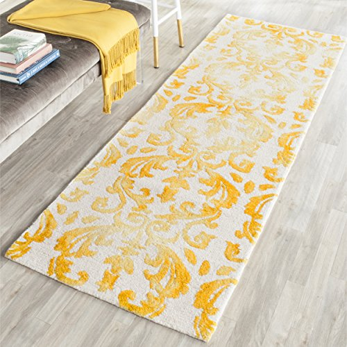 Safavieh Dip Dye Collection DDY689A Handmade Geometric Watercolor Ivory and Gold Wool Runner (2'3
