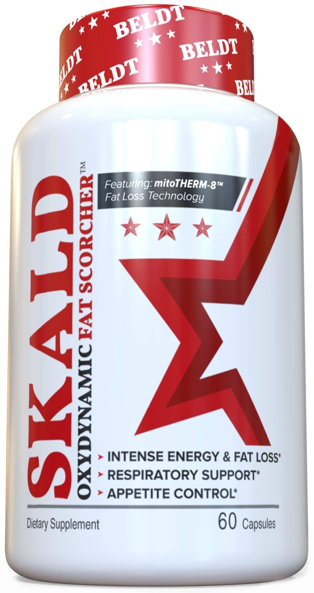 SKALD First Fat Burner Pills with Respiratory Support - Best Weight Loss Supplements for Men and Women - Works Fast for Cardio, Endurance, HIIT, etc - Top Thermogenic Energy Booster (60 Capsules) by BELDT Labs