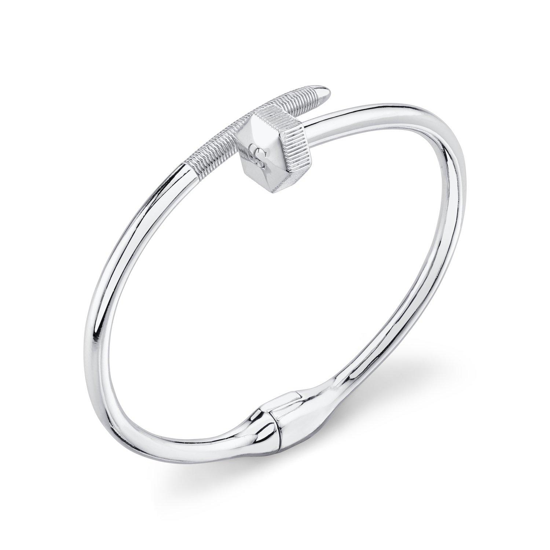 CHARLIZE GADBOIS 925 Sterling Silver Nut & Bolt Hexagon Bangle Bracelet, Rhodium Plated