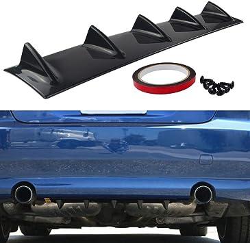 OriginalEuro Universal Rear Bumper Lip Diffuser 5 Shark Fin Wing Black Gloss Racing Look