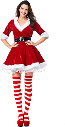 Santa/'s Helper Miss Claus Long Sleeve Costume Christmas Fancy Dress