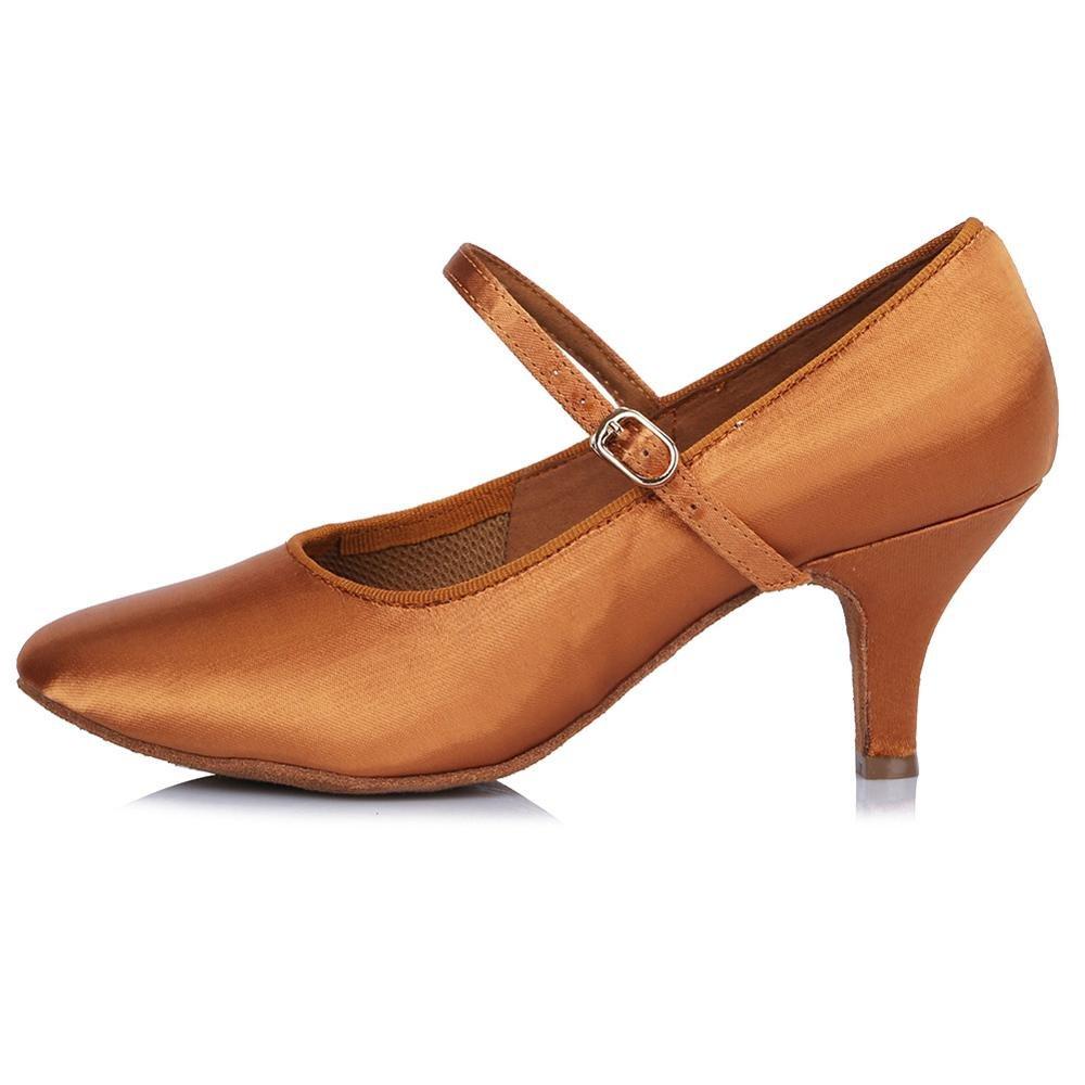 YFF Professionelle closed Toe Modern Dance Schuhe Leder Ballroom Tango Tanzschuhe Salsa Party Latein tanzen Schuhe Mädchen Frauen 63 mm 30602 7.5