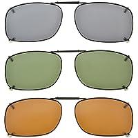 "Eyekepper Metal Frame Rim Polarized Lens Clip On Sunglasses 2""x1 7/16"""