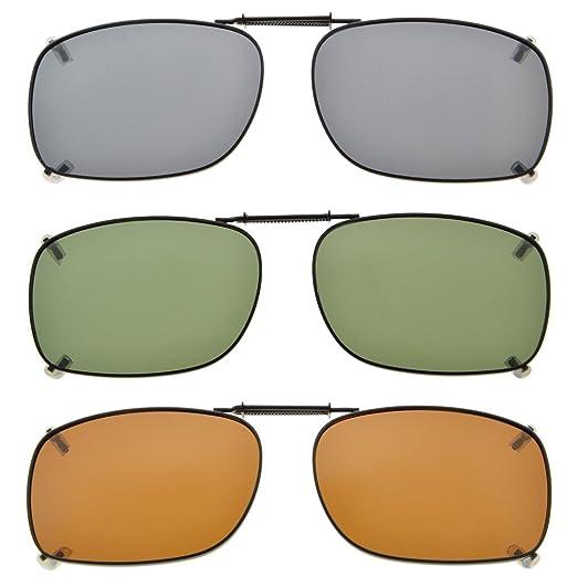 f3d3b4d10 Eyekepper Gris/Marrón/G15 lente 3-Pack clip-en gafas de sol polarizadas  51x36MM: Amazon.es: Ropa y accesorios