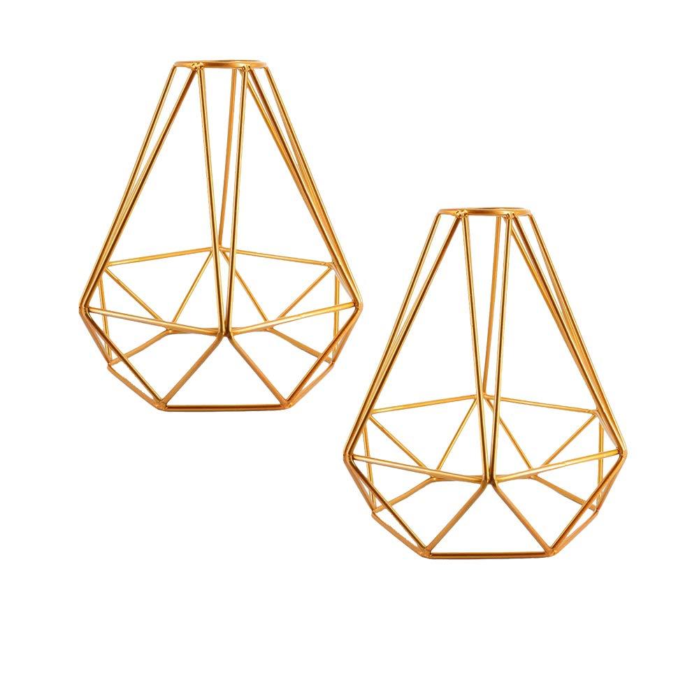 2pcs Vintage Cage Lampshade, Motent Industrial Retro Metal Diamond Shape Edison Bulb Guard, Iron Wrought 1-Light Lamp Holder, Creative DIY Lighting Fixture, 6.2'' Dia for String Lamp Wall Lamp - Golden