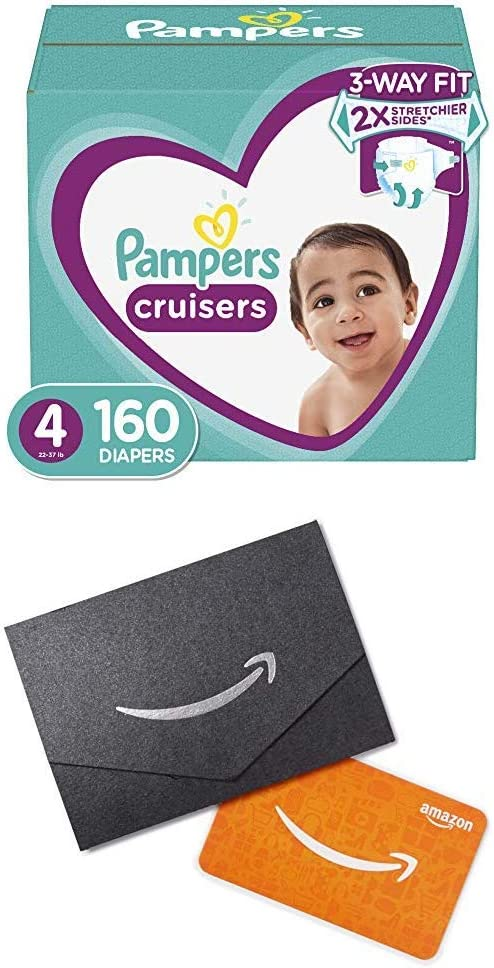 Diapers Size 4, 160 Count (2) - Pampers Cruisers Disposable Baby Diapers, ONE Month Supply and $20 Gift Card
