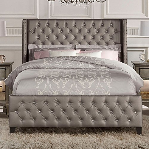 Hillsdale Memphis Faux Leather Upholstered King Panel Bed in Gray