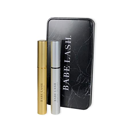 Babe Lash Lush Luster Kit – Essential Serum 2 mL Enhancing Conditioner 3 mL for Beautiful, Thicker Eyelashes Brows with Biotin, Natural Extracts, and Peptides- Use on Brows Lash Extensions
