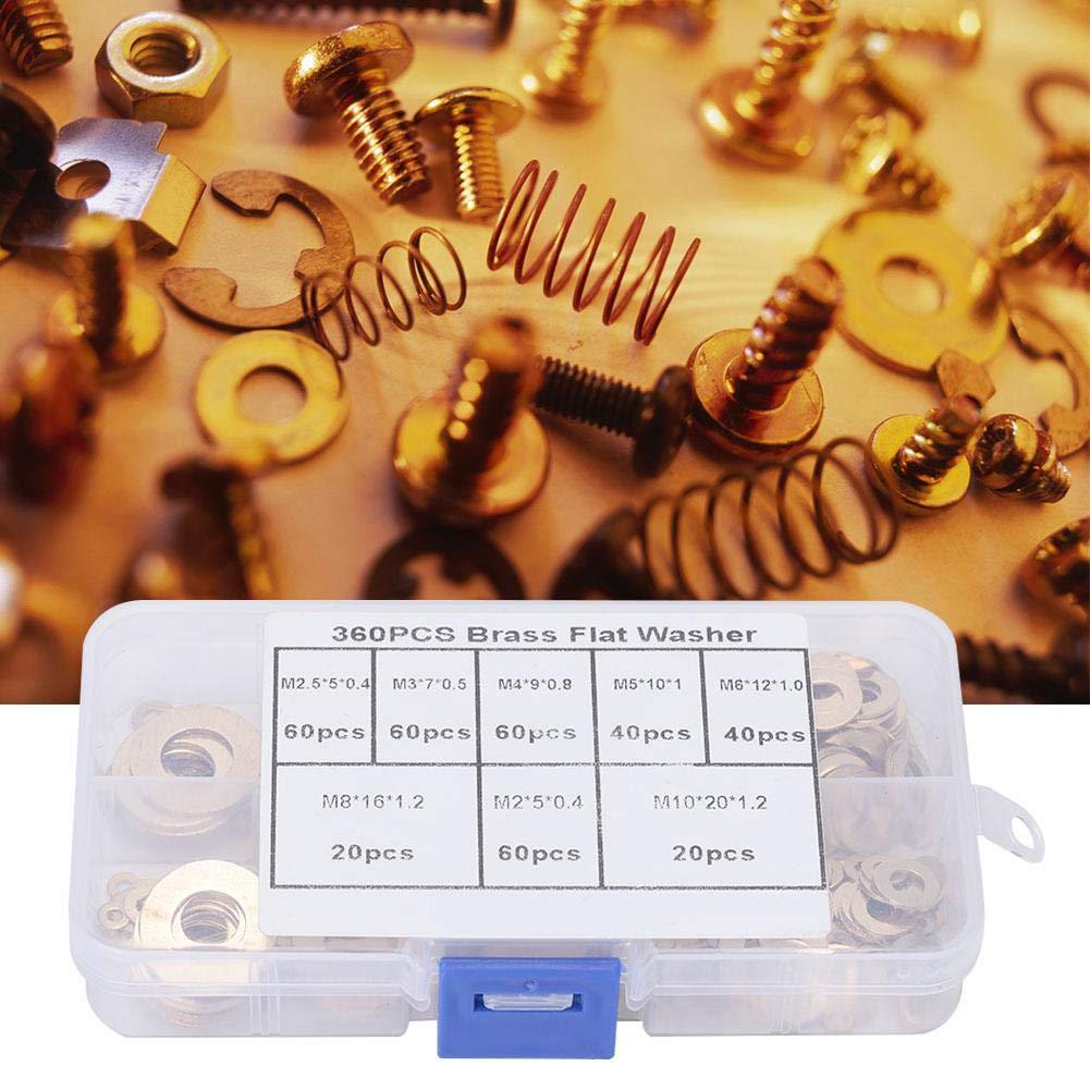 Messingscheibe 180 St/ück M2 M2,5 M3 M4 M5 M6 M8 M10 Messing-Unterlegscheiben-Sortimentset mit Kunststoffbox