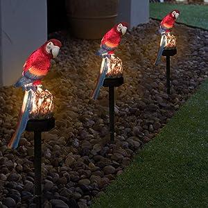 Uonlytech Solar Lights Outdoor Waterproof Parrot Solar Garden Stakes Light Solar Powered Landscape Light for Garden Patio Walkway Pathway Road(Red)