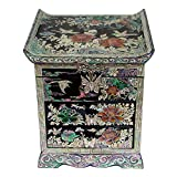 Mother of Pearl Peony Flower Bird Black Lacquer Wood Drawer Jewelry Trinket Keepsake Treasure Chest Box