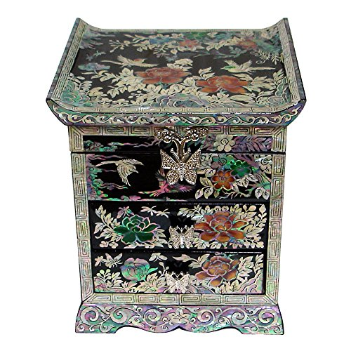 - Mother of Pearl Peony Flower Bird Black Lacquer Wood Drawer Jewelry Trinket Keepsake Treasure Chest Box