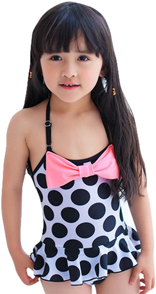TAIYCYXGAN Girls Spots One-Piece Swimwear Holiday Bowknot Bathing Suit