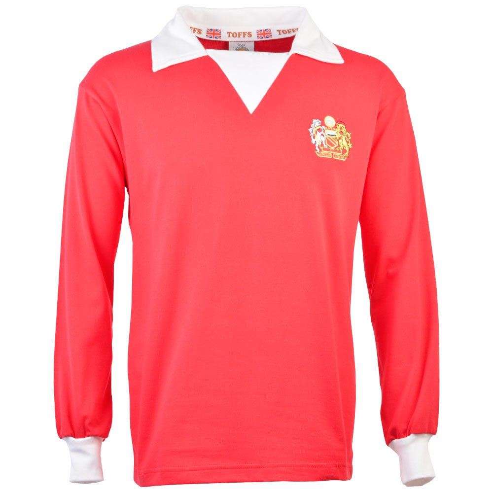 0cd7741eb Toffs Manchester United 1970s Long Sleeve Retro Football Shirt   Amazon.co.uk  Sports   Outdoors