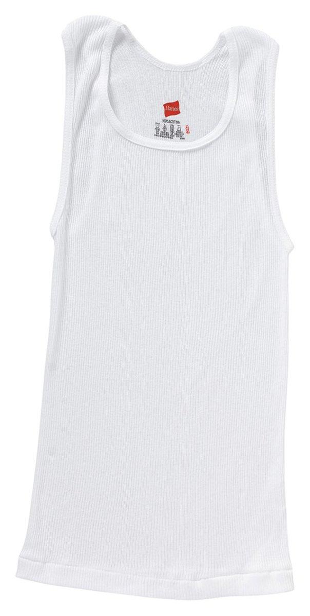 Hanes ComfortSoft Boys' A-Shirt 5-Pack, White, Size-S B372A5 VisrM_B372A5-S
