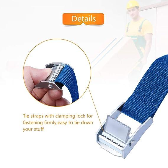 Correas de trinquete, 4 unidades de 2 x 25 mm, correas ajustables de amarre hacia abajo, correa de amarre, cinturones de tensión para remolque, ...
