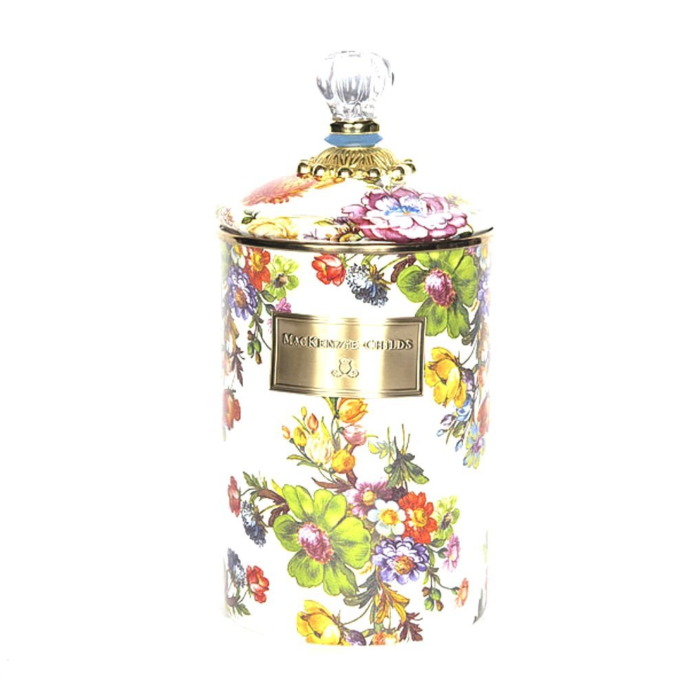 MacKenzie-Childs Flower Market Large Enamel Canister - White 5'' dia., 7'' tall