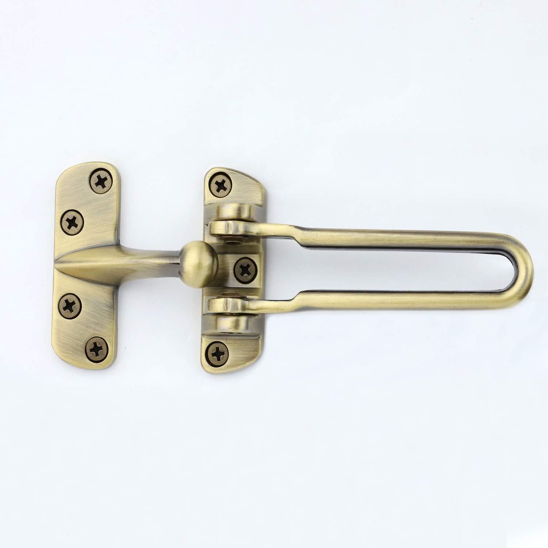 TOGU Solid Thicken Door Security Guard,Gate Latches Swing Bar Lock Door Chain,Burglar-Proof Padlock Door Clasp for Home,Apartment,Hotel,Dormitory,Antique Brass