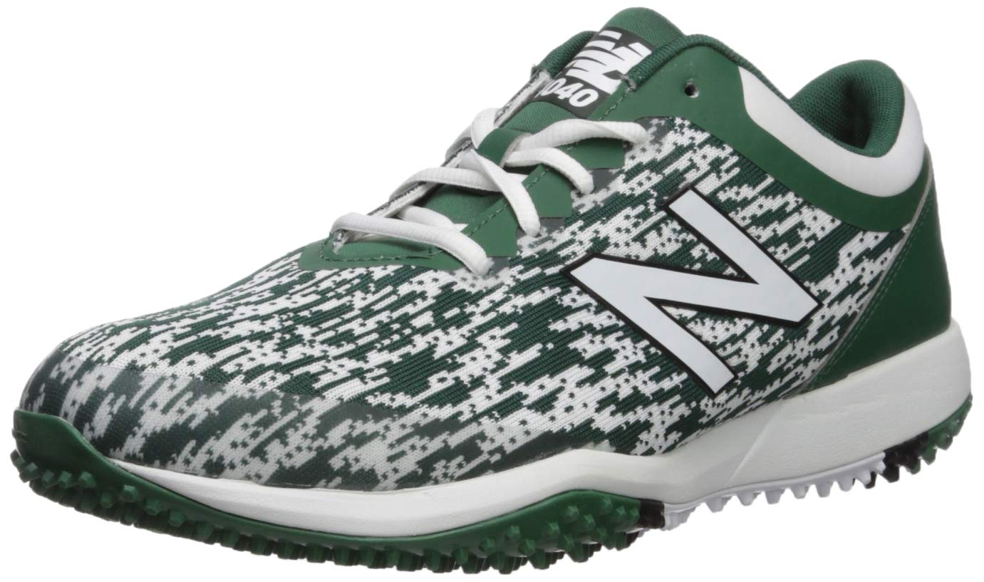 New Balance Men's 4040v5 Turf Track and Field Shoe, Green/White, 5 D US