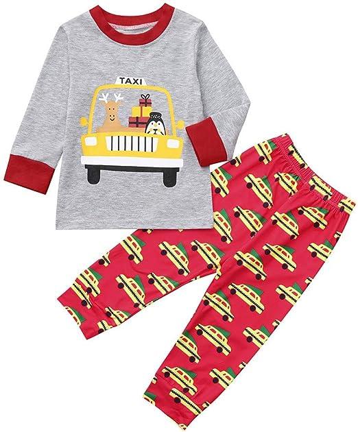 2pcs Newborn Kids Baby Boy Girl Xmas Clothes T-shirt Tops+Long Pants Outfits Set