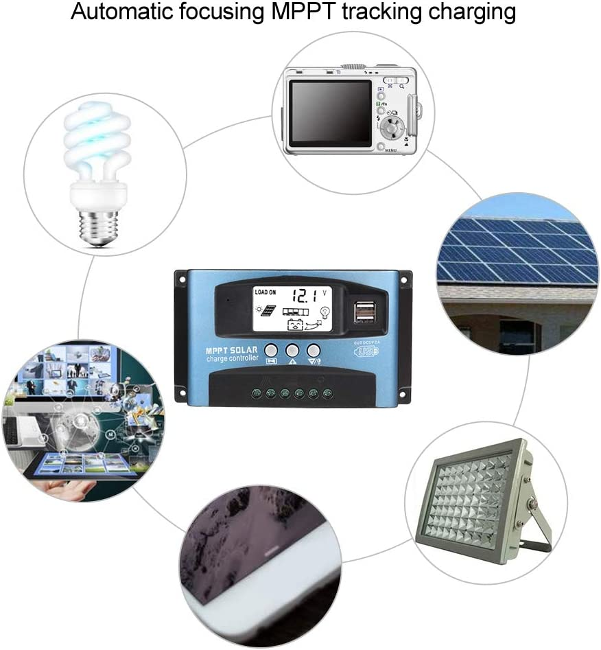 MPPT 40//50//60//100A Solar Charge Controller Dual USB LCD Display 12V 24V Charge Board Controller 60A