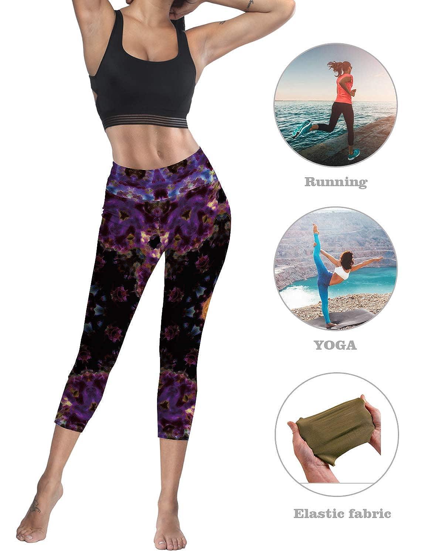 Prironde Women Leggings 3//4 Yoga Pants Tropical Plants Palm Leaves High Waist Trousers 4 Way Stretch Yoga Leggings Workout