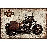"Flowerbeads Vintage Metal Tin Signs Retro Motorcycle Wall Plaque 12X8"" Club Pub Bar Poster Decor"
