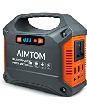 AIMTOM Portable Solar Generator, 42000mAh 155Wh Power Station, Emergency Backup Power Supply W/ Flashlights, for Camping, Home, CPAP, Travel, Outdoor (110V/ 100W AC Outlet, 3x 12V DC, 3x USB Output)