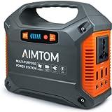 AIMTOM Portable Solar Generator, 42000mAh 155Wh Power Station, Emergency Backup Power Supply W/Flashlights, for Camping…