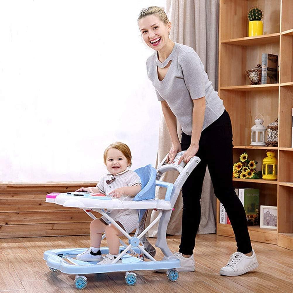 WUAZ Baby-Wanderer H/öhenverstellbarkeit 2 in 1 Baby-Wanderer f/ür M/ädchen Jungen 6-18Months Kleinkind,Blau Anti-O-Bein-Anti-Rollover-Walker Baby-Wanderer mit Abkantpresse