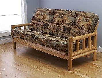 Futon Frame And Full Size Mattress Set. This Rustic Log Frame Sofa Set  Easily Converts