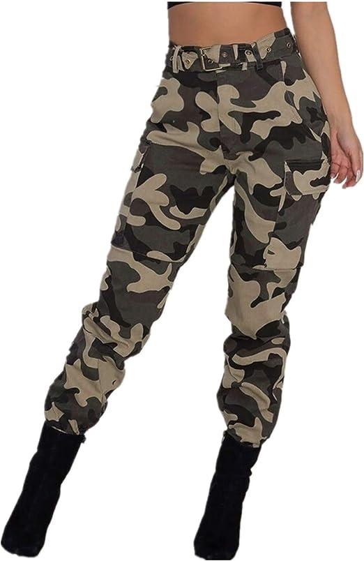 Pantalones Militares Mujer Cintura Alta Pantalon de Camuflaje de ...