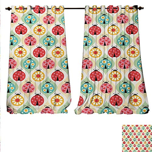 Daisies Soho Handmade (familytaste Decor Curtains by Ladybugs Cartoon Pattern with Retro Polka Dots Daisy Blossoms and Little Hearts Love Patterned Drape for Glass Door W84 x L108 Multicolor.jpg)