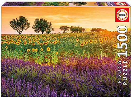 Educa 17669 1500 Field with Sunflowers and - Educa Glue Puzzle