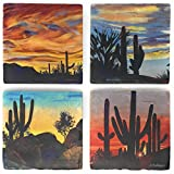 Studio Vertu Dove Mountain Cactus Scenes Marble Coasters, Set of 4