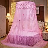 Lustar Court Style Mosquito Net Bed Canopy Children Fly Insect Protection Indoor Decorative Height 270cm Top Diameter 1.2m 1-2m Bed,Pink