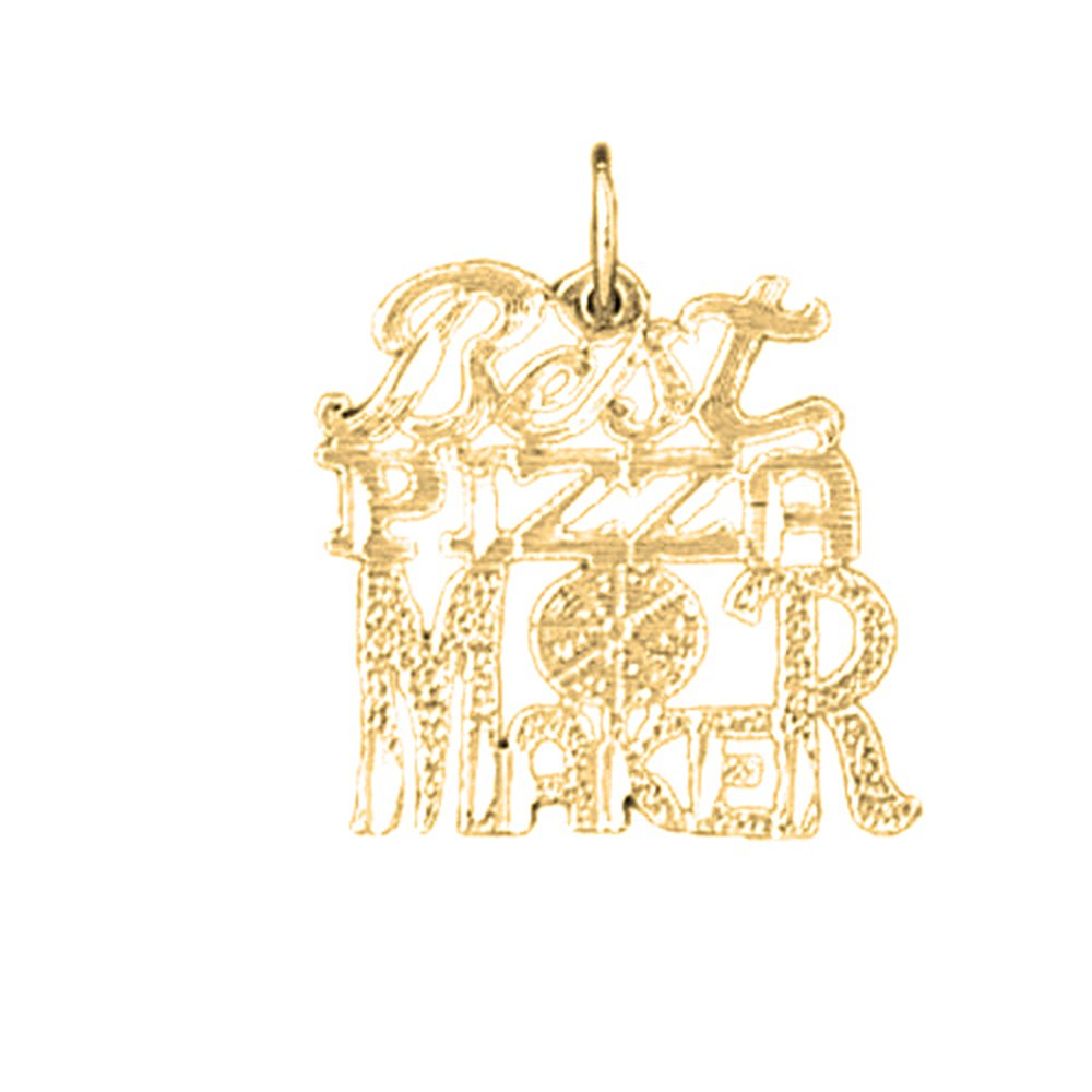 20mm Silver Yellow Plated Best Pizza Maker Saying Pendant