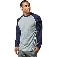 Men's Full Length Sleeve Raglan Cotton Baseball Tee Shirt