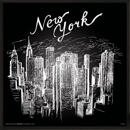 New York City ( NYC ) Skyscrapers Buildingsスケッチ装飾ポスター印刷