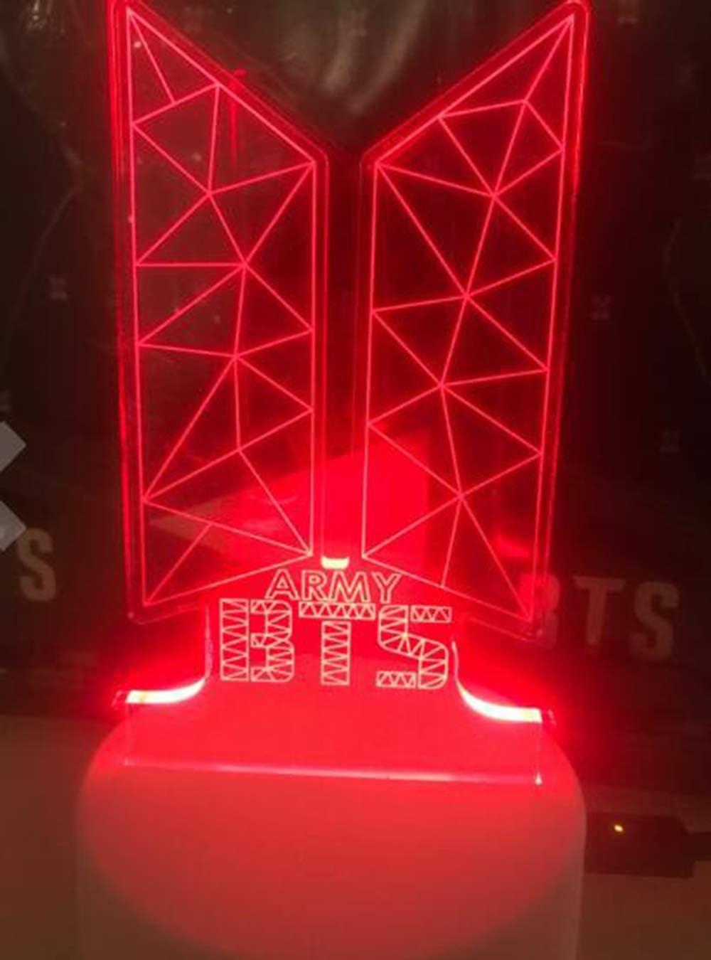 7-Farben-LED Nachtlampe mit milit/ärischem Touch-Schalter BTS Bulletproof Youth League Nachtlampe Tischlampe