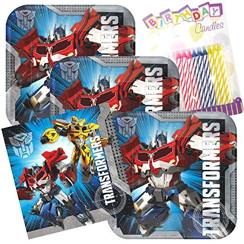 Transformers Party Plates and Napkins Serves 16 With Birthday Candles