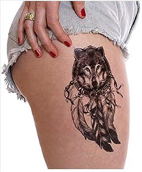 Tatuajes temporales con diseño de lobo atrapasueños para hombre y ...