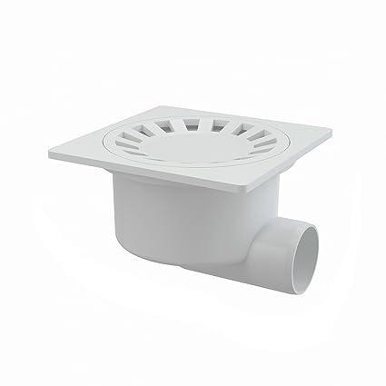 Desagüe de Suelo 150 x 150 Conector DN 50 Báscula Derecho Blanco Plástico Extra Plano –
