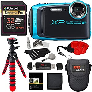 Fujifilm FinePix XP120 Waterproof Digital Camera Sky Blue, Polaroid 32GB SD Memory Card, Ritz Gear Flexi Tripod, Ritz Gear Point and Shoot Camera Case, Floating Strap,Cleaning Kit and Accessory Bundle